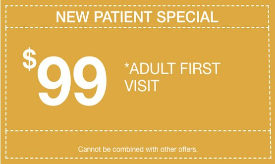 Adult first visit, $99,Cannot be combined with other offers.