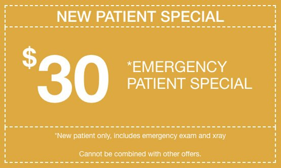 Emergency patient special, $30, Cannot be combined with other offers.